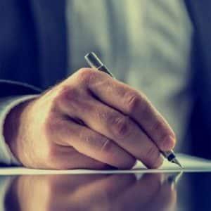 Attorney writing