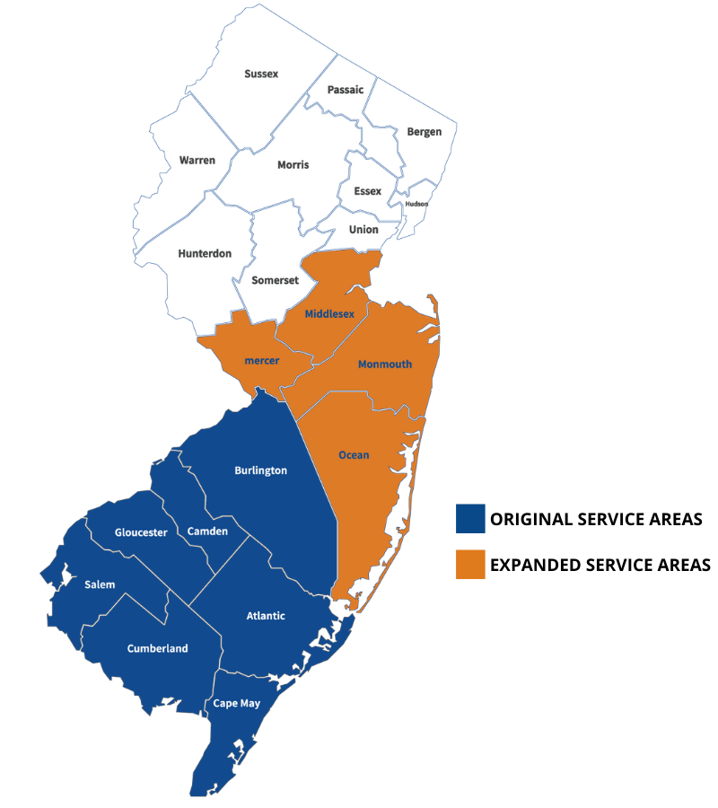 Areas Served - Expanded Areas Graphic